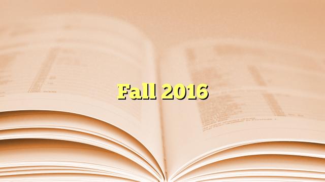 Fall 2016